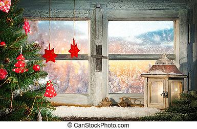 La decoración de la ventana de Navidad atmosférica