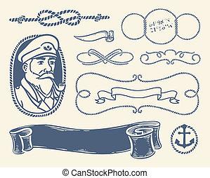 La decoración náutica sobre el blanco