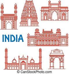 La delgada línea de arquitectura de los iconos de la India