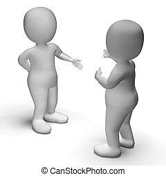 La discusión entre dos personajes 3d muestra comunicación