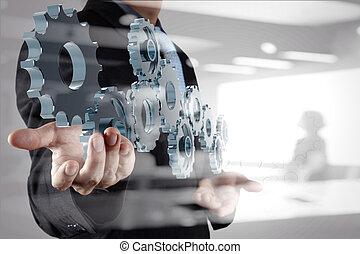 La doble exposición de la mano de un hombre de negocios muestra cambios en el concepto de éxito