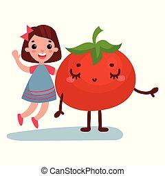 La dulce niña se divierte con el personaje vegetal de tomate gigante, los mejores amigos, comida saludable para los niños vectores de dibujos animados