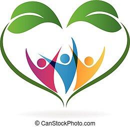 La ecología ama las hojas del corazón y el logotipo de la gente