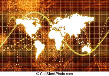 La economía mundial de mercado de valores naranja