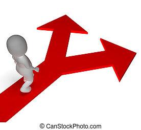 La elección de las flechas muestra opciones alternativas o elegir