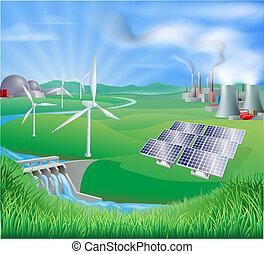 La electricidad o la generación de energía se encontraron