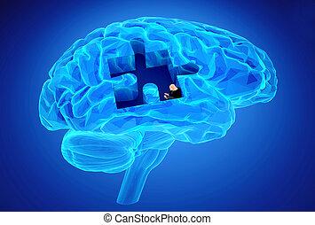 La enfermedad de la demencia y la pérdida de la función cerebral y los recuerdos
