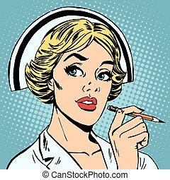 La enfermera escribe diagnóstico