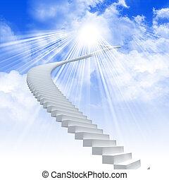 La escalera blanca se extiende a un cielo brillante