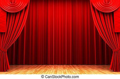 La escena de apertura de la cortina de terciopelo rojo
