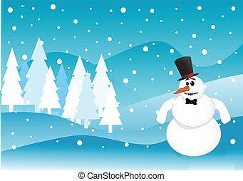 La escena de invierno de Snowman