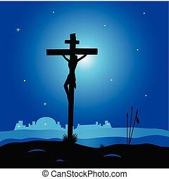 La escena de la crucifixión con Jesucristo en la cruz