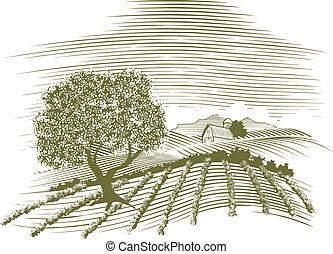 La escena de la granja Woodcut