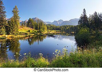 La escena de la montaña natural con un hermoso lago en Eslovaquia Tatra, Strbske pleso