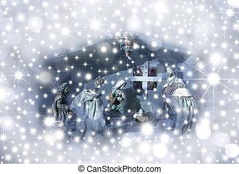 La escena de la natividad con tarjeta de Navidad