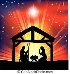 La escena de la natividad cristiana tradicional