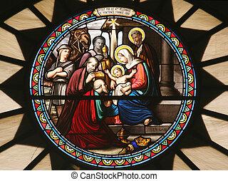 La escena de la natividad, el cristal manchado, la iglesia de San Catherine, Belén