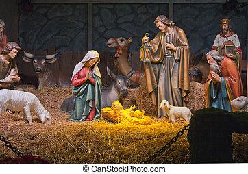 La escena de la natividad.