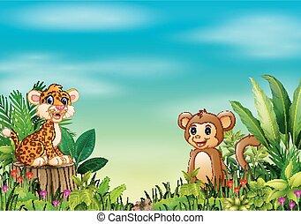 La escena de la naturaleza con un leopardo bebé sentado en tocón de árbol y mono