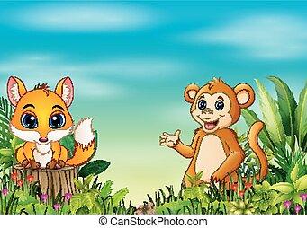 La escena de la naturaleza con un zorro bebé parado en el tocón del árbol y el mono