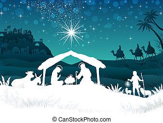 La escena de la Navidad de la silueta blanca con el mago