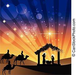 La escena de la Navidad es sagrada