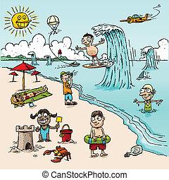La escena de la playa de los dibujos animados