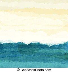La escena de la playa Watercolour 0106