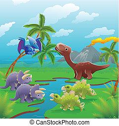 La escena de los dinosaurios de cartón.
