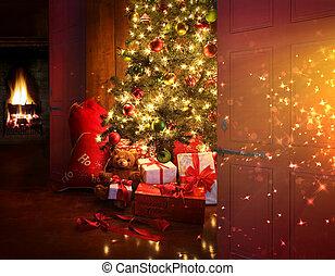 La escena de Navidad con árbol y fuego en el fondo