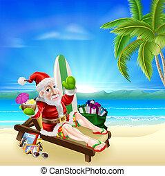La escena de Navidad en la playa tropical de Santa