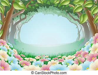 La escena del bosque de fantasía