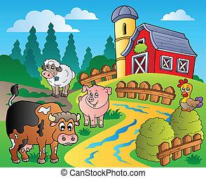 La escena del campo con el granero rojo 1