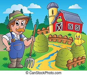 La escena del campo con el granero rojo 3