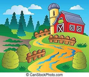 La escena del campo con el granero rojo 4