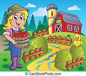La escena del campo con el granero rojo 7
