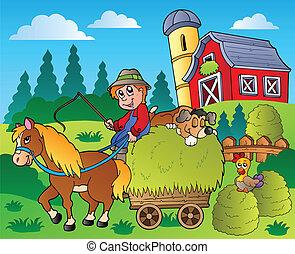 La escena del campo con el granero rojo 9
