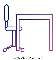 La escena del escritorio y la silla