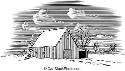 La escena del granero de invierno