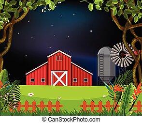 La escena del granero por la noche