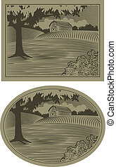 La escena del granero Woodcut
