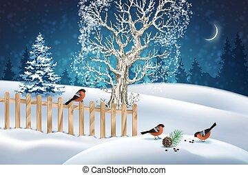 La escena del invierno de Navidad