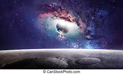 La escena del universo con planetas, estrellas y galaxias en el espacio exterior mostrando la belleza de la exploración espacial. Elementos provistos por la NASA