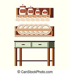 La escena interior de muebles rústicos de cocina de madera aislada en estanterías de fondo blanco con frascos, tazas, platos, mesas, latas