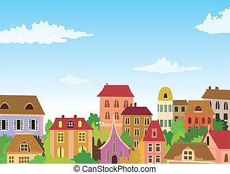 La escena urbana de Cartoon