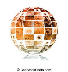 La esfera mundial de tecnología global de los medios