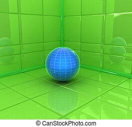La esquina de la habitación con pelota