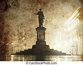La estatua de Duc de Richelieu en Ucrania, Odessa. Fotografía a la antigua imagen.