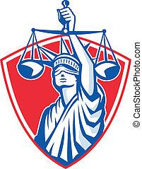 La estatua de la libertad levantando justicia pesando escalas retro