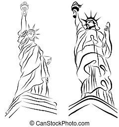 La estatua de los dibujos de la libertad